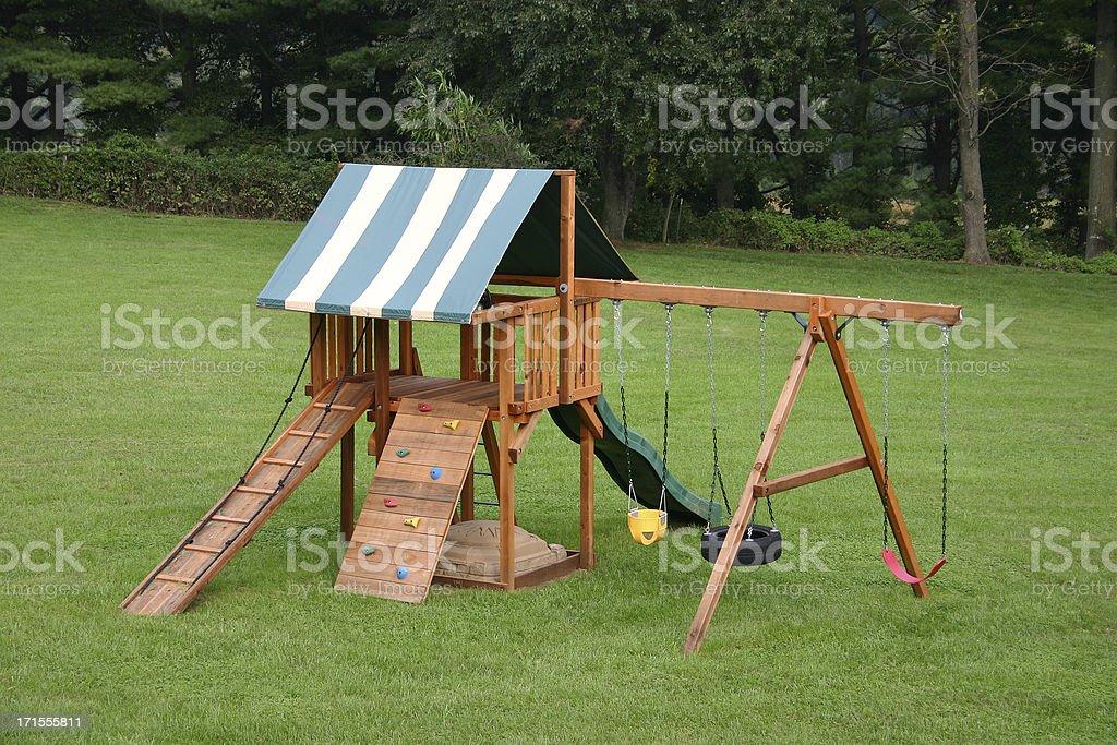 Wood Swing Set stock photo