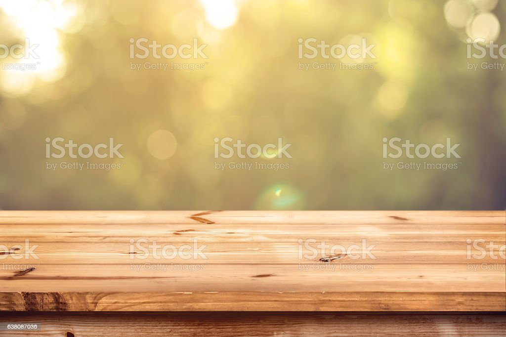 wood table in park stock photo