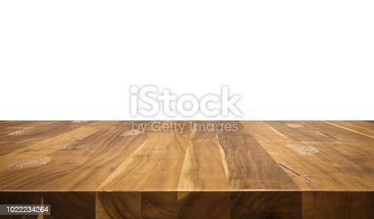 Wood table isolated on white background.