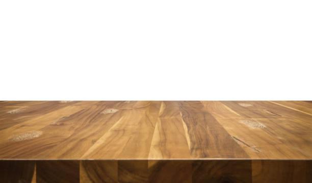 Wood table isolated on white background. stock photo