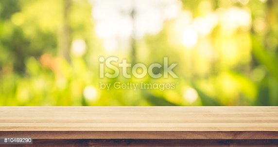 680878382istockphoto Wood table on blur green,flower from garden,park background. 810469290