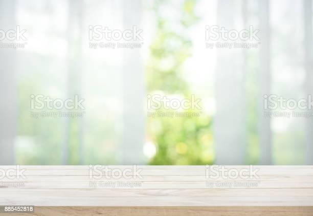 Wood table on blur of curtain with window view garden picture id885452818?b=1&k=6&m=885452818&s=612x612&h=wk 0jn8z0mvizvaunfwh6cjmk73gjazeulhkcs p9sm=