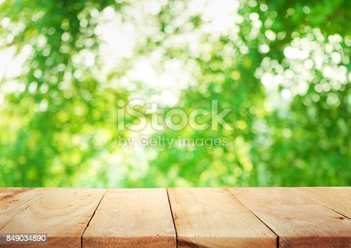 680878382istockphoto Wood table on blur of fresh green garden with sunlight 849034890
