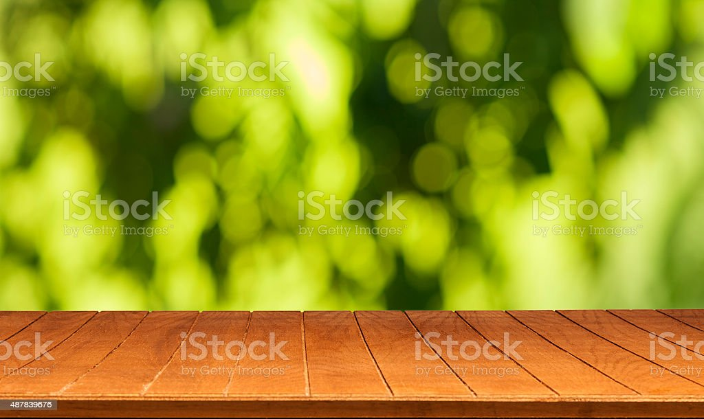 Wood table stock photo