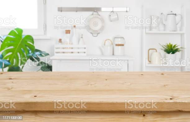 Wood table top for product display on blur kitchen background picture id1171133130?b=1&k=6&m=1171133130&s=612x612&h=ak vgoh31ssf5xcpqfhl ngzbstuiv3vcsyk6jvdwsk=