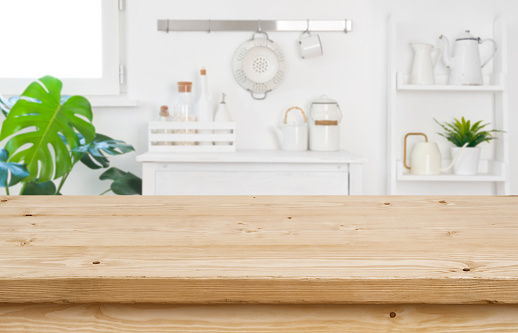 Wood Table Top For Product Display On Blur Kitchen ...