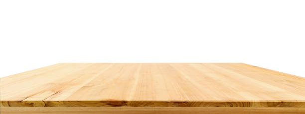 Wood table top isolated on white background Wood table top isolated on white background diminishing perspective stock pictures, royalty-free photos & images