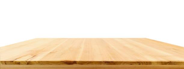 wood table top isolated on white background - prospettiva lineare foto e immagini stock