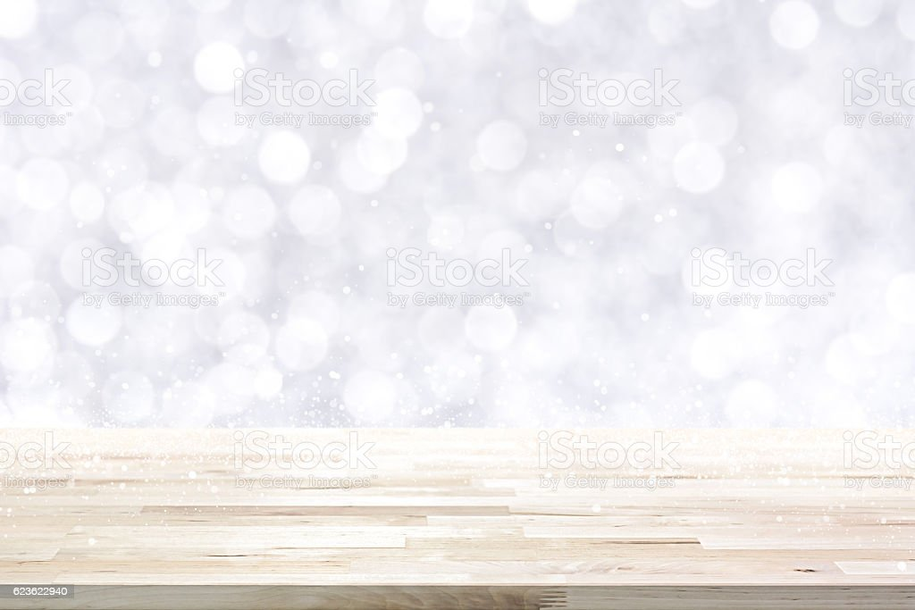 Wood table top on  abstract white bokeh stock photo
