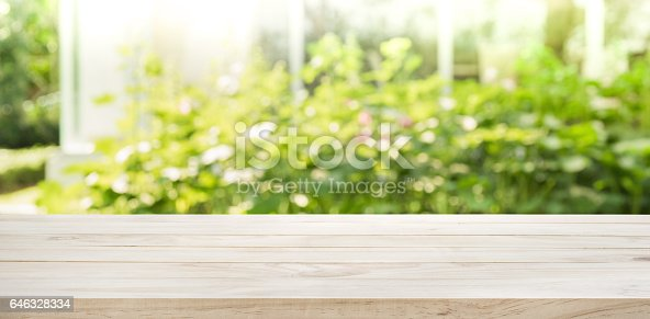 680878382 istock photo Wood table top on blur abstract green from garden background. 646328334