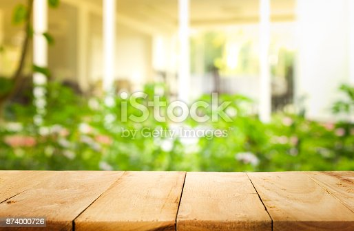 680878382istockphoto Wood table top on blur abstract green from garden background. 874000726