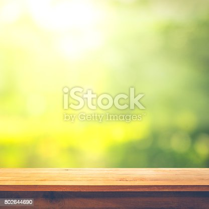 680878382istockphoto Wood table top on blur green abstract garden with sunlight. 802644690