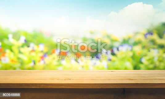 680878382istockphoto Wood table top on blur green abstract garden with sunlight. 802648888