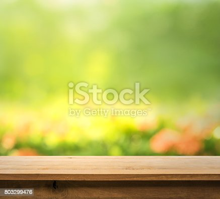 680878382istockphoto Wood table top on blur green abstract garden with sunlight. 803299476