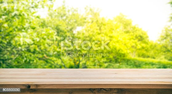 680878382istockphoto Wood table top on blur green abstract garden with sunlight. 803300030