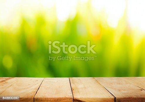 680878382istockphoto Wood table top on blur green garden abstract background 848800392