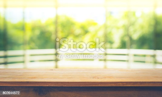 680878382istockphoto Wood table top on blur green garden from window view. 802644572