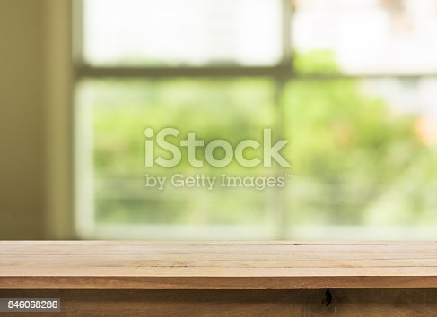 680878382istockphoto Wood table top on blur green garden from window view. 846068286