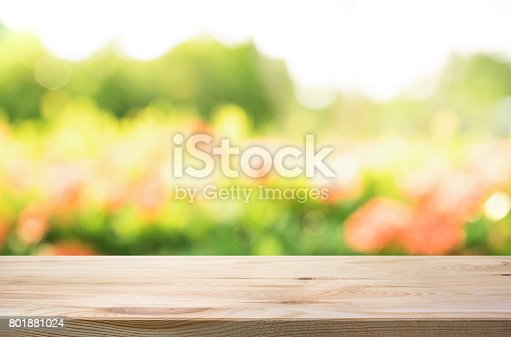 680878382istockphoto Wood table top on blur green garden in morning background. 801881024