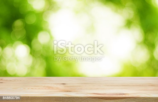 680878382istockphoto Wood table top on blur green garden in morning background. 848800794