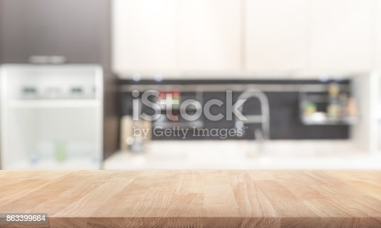 923629650 istock photo Wood table top on blur kitchen wall room background 863399664