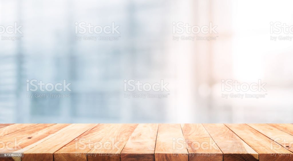 Wood Table Top On Blur White Glass Window Background Form Office Building  Stock Photo   Download Image Now