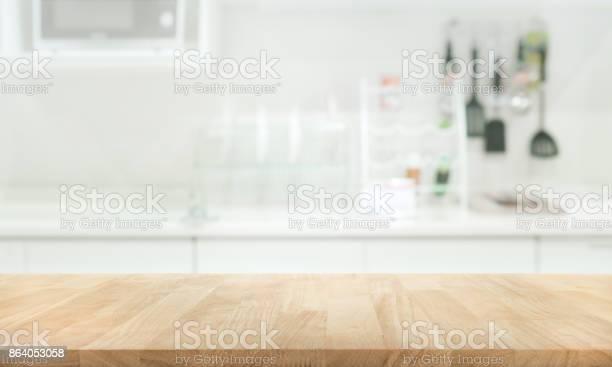 Wood table top on blur white kitchen wall room picture id864053058?b=1&k=6&m=864053058&s=612x612&h=0iswphodivwek41s2vukb4igxxy iupq02frq2iv6ke=