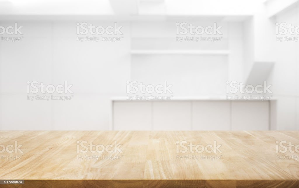 Wood table top on white room office background.For create product display or key visual layout stock photo
