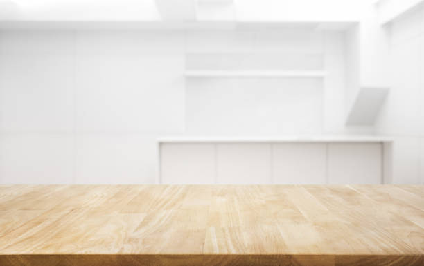 wood table top on white room office background.for create product display or key visual layout - diminishing perspective stock pictures, royalty-free photos & images
