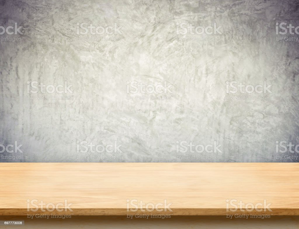 Wood table top with grunge concrete wallmock up template for display wood table top with grunge concrete wallmock up template for display or montage of maxwellsz