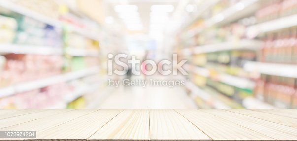 1072974214 istock photo Wood table top with Supermarket aisle with customer blur defocused product shelves interior bokeh light background 1072974204