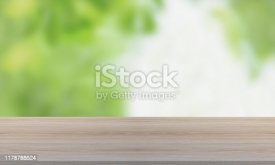 1067054470istockphoto Wood Table with Blurred Nature Background 1178788524