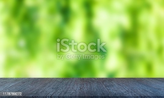 989111446istockphoto Wood Table with Blurred Nature Background 1178789272