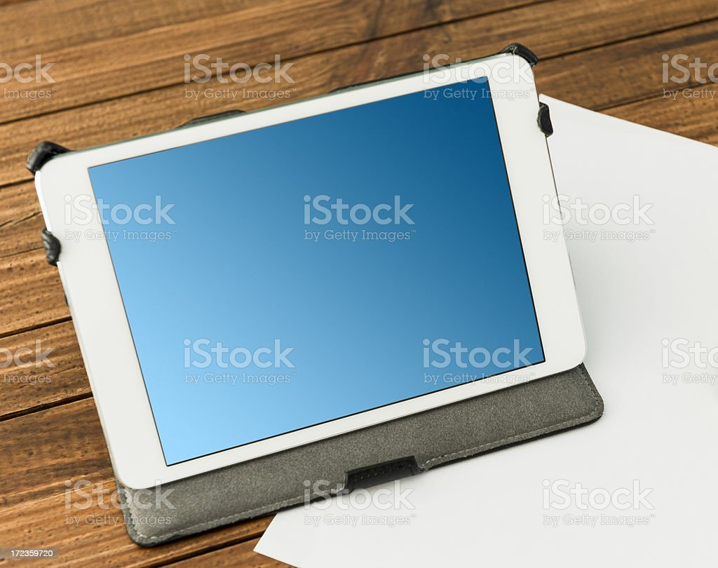 Wood table with digital tablet and coffee royalty-free stock photo