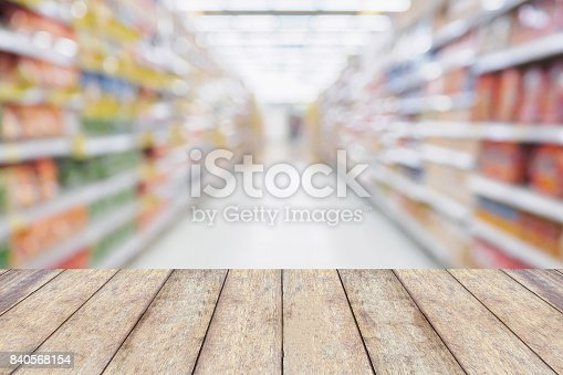 836871040 istock photo Wood table with Empty Supermarket aisle shelves abstract blur defocused business background 840568154