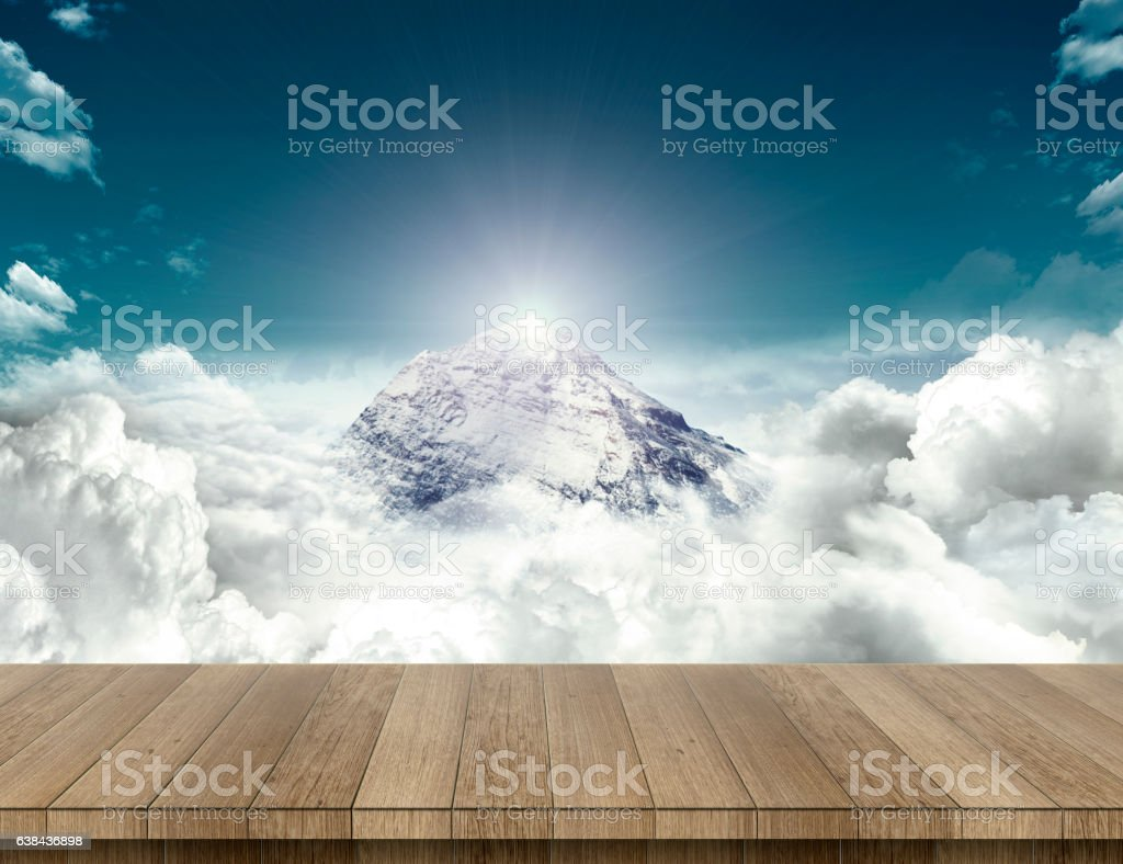 Wood table with mountain sense stock photo