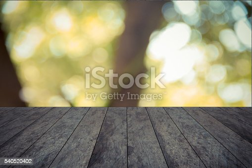 wood tabletop and garden blurred