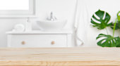 istock Wood tabletop on blur bathroom background, design key visual layout 1171133064