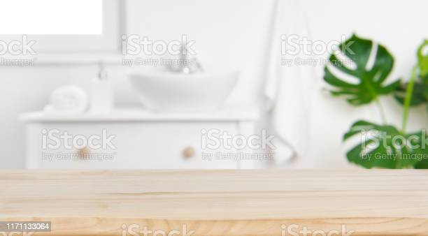 Wood tabletop on blur bathroom background design key visual layout picture id1171133064?b=1&k=6&m=1171133064&s=612x612&h=i43vbru1lqah6sngdg9 8sjcw 1m ls5badlrqdcqqy=