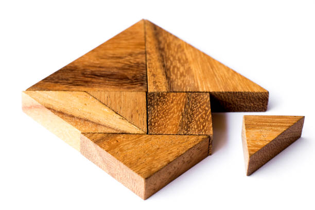Wood tangram puzzle in square shape that wait triangle piece to fulfill on white background stock photo