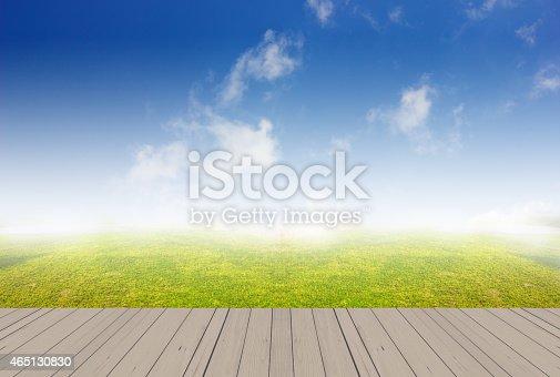 istock wood terrace and sky 465130830