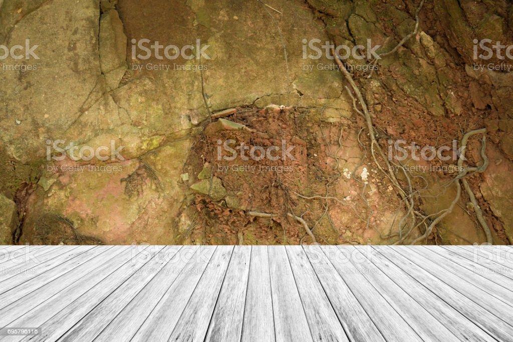 Terraza De Madera Y La Textura Superficial Del Color Natural