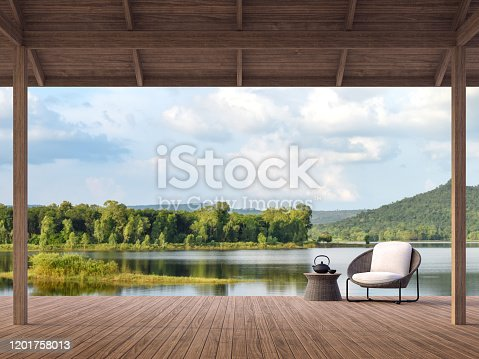istock Wood terrace with beautiful lake and mountain view 3d render 1201758013