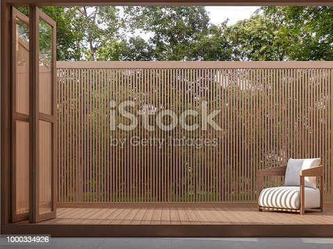 istock Wood terrace with nature view 3d render 1000334926
