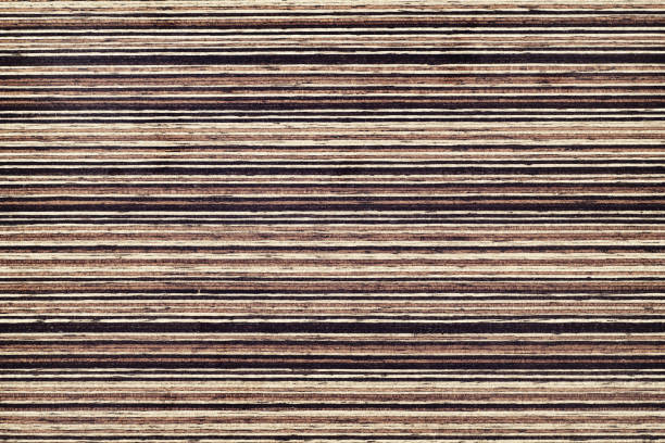 Wood Texture Background Material, Dark Color and Horizontal Stripes. stock photo