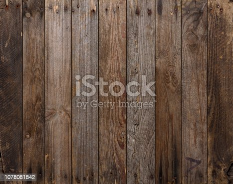 Wood texture background. Wooden planks background, weathered, with nails, top view, sharp and highly detailed.