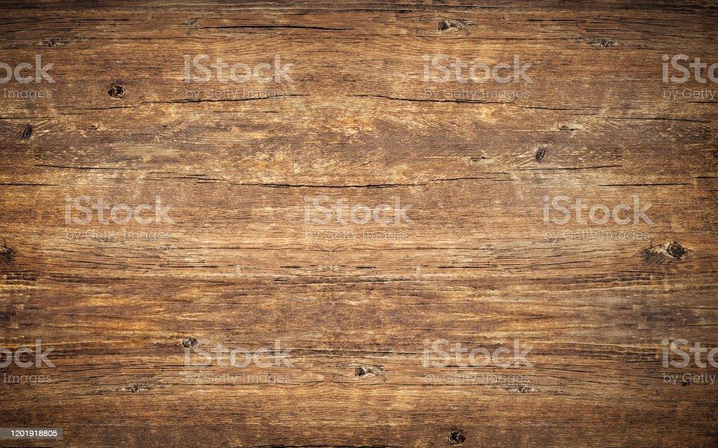 Achtergrond van de houten textuur. Hoogste mening van uitstekende houten lijst met barsten. Oppervlak van oud geknoopt hout met natuurlijke kleur, textuur en patroon. Donker schuurmateriaal. - Royalty-free Abstract Stockfoto