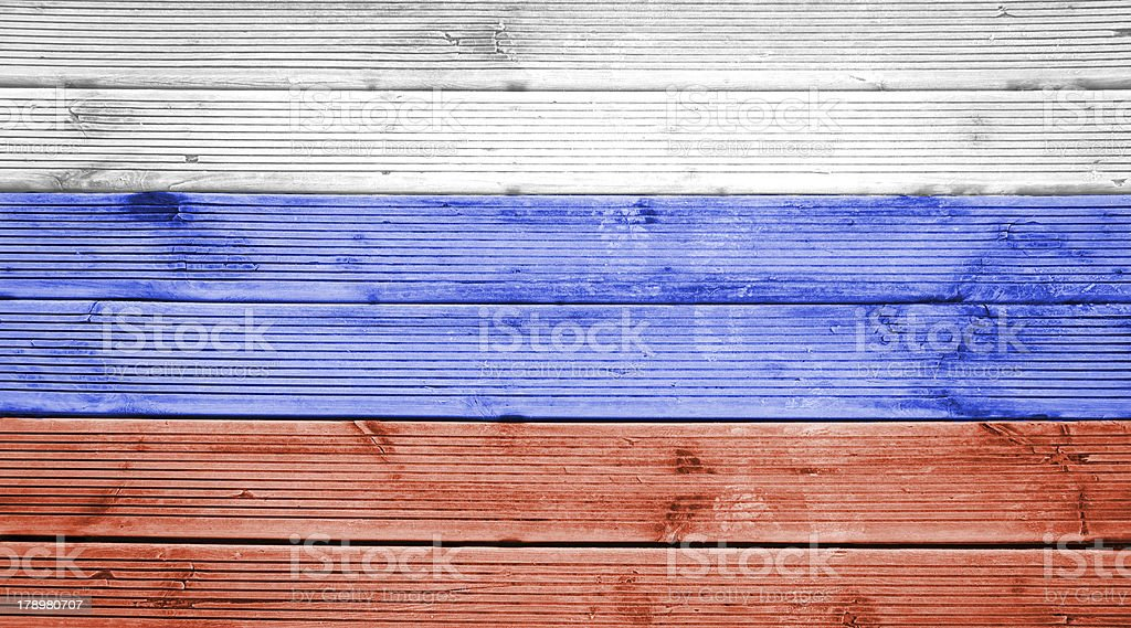 Wood texture background with colors the flag of Russia royalty-free stock photo