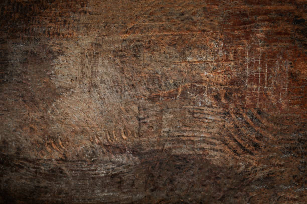 wood texture, brown scratched wooden cutting board. natural dark background. - rustic wood background stock photos and pictures