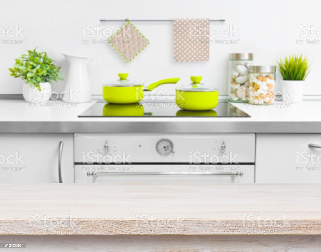 Wood texture table on defocused kitchen bench background stock photo